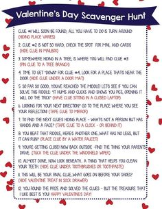 Valentine Scavenger Hunt for Kids (Free Printable!) Jamie here! I'm so excited to finally share this Valentine Scavenger Hunt for Kids with you! Scavenger Hunts are such a fun way to let your kids Anniversary Scavenger Hunts, Scavenger Hunt Birthday, Scavenger Hunt Riddles, Scavenger Hunt For Kids, Birthday Surprise Boyfriend, Birthday Gifts For Husband, Valentine's Day Quotes, Valentines Day Party, Valentine Gifts