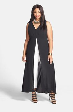 Adrianna Papell Colorblock V-Neck Jumpsuit (Plus Size) | Nordstrom