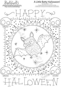 Halloween Embroidery Pattern- a little batty but very cute :)
