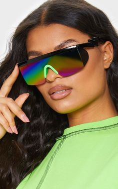 The Irridesent Futuristic Visor Sunglasses. Head online and this season's range of accessories at PrettyLittleThing. Futuristic Sunglasses, Shoes Uk, Sunnies, Sunglasses Women, Lens, Theme Parties, Unisex, Costume Ideas