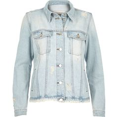 River Island Light blue wash raw hem denim jacket (£45) ❤ liked on Polyvore featuring outerwear, jackets, blue, coats / jackets, denim jackets, women, tall jacket, jean jacket, distressed jean jacket and blue jean jacket