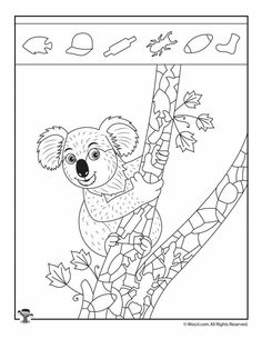 Koala Hidden Picture Puzzle Page Art Therapy Activities, Activities For Kids, Crafts For Kids, Emotions Preschool, Hidden Picture Puzzles, Critical Thinking Activities, Hidden Pictures, Hidden Objects, Super Cute Animals