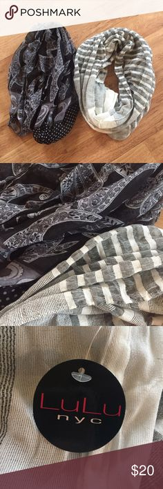 Striped and Paisley Print Infinity Scarf Bundle The scarf on the right is new with tags and the other is gently used! ⚜️I love receiving offers through the offer button!⚜️ Good condition, as seen in pictures! Fast same or next day shipping!📨 Open to offers but I don't negotiate in the comments so please use the offer button😊 Accessories Scarves & Wraps