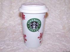 2010 STARBUCKS Mermaid SNOWFLAKES Christmas SNOWFLAKE Travel Mug w/ LID