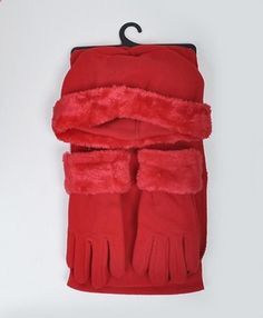Women's Red Solid Polyester Fleece 3-Piece gloves scarf Hat Winter Set WSET60. More description on the website.