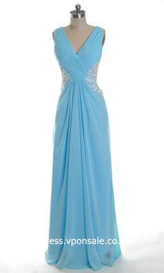 Blue Bridesmaid Dresses Blue Bridesmaid Dresses Blue Bridesmaid Dresses V-neck Sequin Empire Waist Evening Dress VPW734