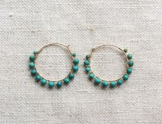 Hey, I found this really awesome Etsy listing at https://www.etsy.com/listing/217849816/turquoise-hoop-earring-turquoise-earring