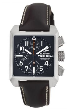 The magnificent Fortis Aviation Square Chronograph Watch (Ref. is an exclusive timepiece that proudly displays all the excellence of Fortis Amazing Watches, Cool Watches, Wrist Watches, Stylish Watches, Luxury Watches For Men, Expensive Watches, Breitling, Watch Bands, Chronograph