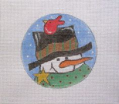 $11.95      Jolly Snowman w/Red Bird on Hat Handpainted by MarsyesShoppe