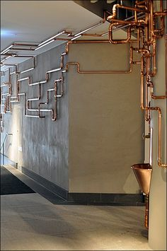 Runaway Copper Water Fountain E A E Bf Ae Home Interior Design - As Customer Amenity This Runaway Copper Water Fountain Would Catch The Eye Even Without The Serendipitous Copper Piping Im Sure The Plumbing Configuration And Cutoff Valves Were Well Under