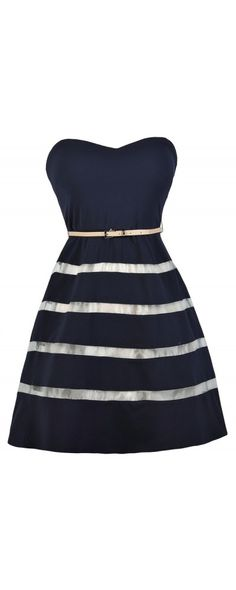 Lily Boutique In The Navy Belted Strapless Stripe Dress