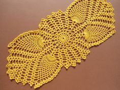 Yellow crochet doily oval crocheted doily pineaplle doily crochet centerpiece yellow doilies yellow lace doily 15 X 6 Crochet Table Runner, Crochet Tablecloth, Free Crochet Doily Patterns, Crochet Stitches, Lace Doilies, Crochet Doilies, Crochet Home, Hand Crochet, Yellow Lace