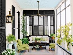 Plantation Shutters don't have to be white! We can customize your shutters to any color you would like. Interior Design Blogs, Outdoor Rooms, Outdoor Living, Southern Front Porches, Porch Privacy, Shutter Designs, Interior Shutters, Black Shutters, Wood Shutters