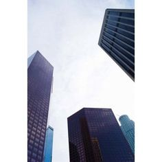 Low angle view of skyscrapers Wells Fargo Center California Plaza US Bank Building Los Angeles California USA Canvas Art - Panoramic Images (24 x 36)