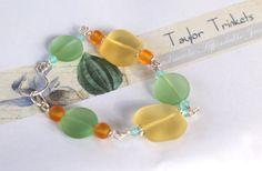 Glass Bracelet Green Seaglass Bracelet Silver by TaylorTrinkets, $25.00