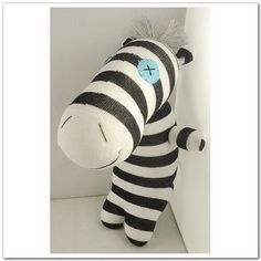 Handmade Sock Zebra Stuffed Animal Doll Baby by supersockmonkeys, $14.99