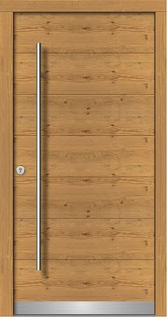 ll➤ Wood front doors with glass panels in modern, contemporary designs ✔ Best prices ✔ available with side panels ✔ Solid wood ✔ Good German Quality Timber Front Door, Modern Front Door, Glass Panel Door, Glass Front Door, Modern Wooden Doors, Solid Oak Doors, Wood Entry Doors, Room Door Design, Laminated Glass