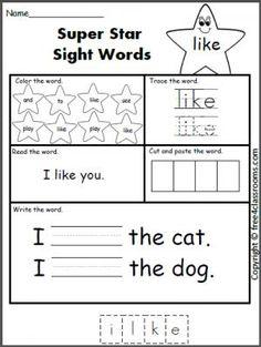 best printables images in   preschool day care st grades super star sight word worksheet  like preschool sight words teaching  sight words sight