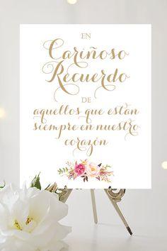 En Carinoso Recuerdo Sign | 8 x 10 signo de la boda | DIY Printable | Vintage | Antique Gold | PDF and JPG files | Instant Download
