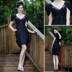 Doris Dresses // Capped Sleeve V Neck Draped Black Evening Dress - £120.00