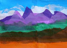 "Landscape of tissue paper. ""Purple mountains majesty"" - pair with America the Beautiful"