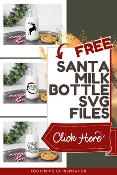 My Santa Milk Bottles came out so cute with these Free SVG Cut Files! I can't wait to put them out with my kiddos on Christmas Eve. They're going to love them. #footprintsofinspiration #freesvg #santa #milkbottles #silhouette #cameo #cricut #diy #easydiy #christmasdiy #diygifts Easy Diy Christmas Gifts, Easy Diy Gifts, Christmas Eve, Diy Vinyl Projects, Cool Diy Projects, Cricut Tutorials, Cricut Ideas, Bottle Cutting, Milk Bottles