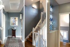 entree-carreaux-de-ciment-vitrail-et-escalier Deco Design, Home Staging, Stairways, Sweet Home, Art Deco, Decoration, Room, House, Vintage