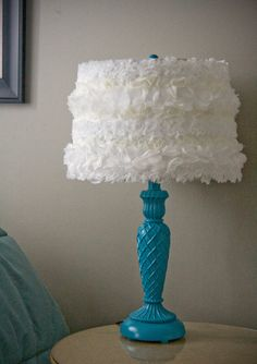 Blue Table  Lamp w/ White Lace Shade by VieveShop on Etsy, $80.00