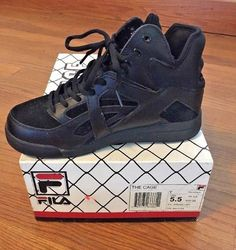 2e0c813ba54 FILA Kids Shoes The Cage All Black Youth 5.5 Hi Top Leather Sneakers  3VB90001 RS 791272666611