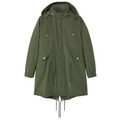 Hooded Cotton Parka (€110) ❤ liked on Polyvore featuring outerwear, coats, cotton parka, mango parka, long sleeve coat, cotton coat and green parka