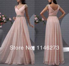 2014 nova a line longo chiffon cap vestidos de manga frisado v neck v back vestidos rosa Custom made vestidos de festa vestidos de dama de honra em Vestidos de Madrinha de Roupas & acessórios no AliExpress.com | Alibaba Group