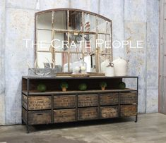 10 Zoria Crate Credenza  TV Console  Buffet Table  by FoundInAttic