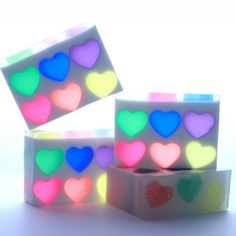 This Rainbow Heart Melt and Pour soap will make you smile with plenty of sparkle, color and hearts.