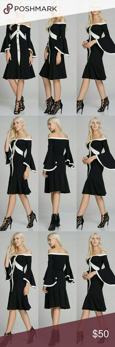 OFF SHOULDER DRESS OFF SHOULDER DRESS WITH COLOR BLOCK AND BUTTON TRIM DETAILED CONTENTS- MADE IN USA Made in USA Dresses Midi