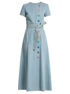Carolina Herrera Round-neck A-line cotton-denim dress Blue Dresses, Vintage Dresses, Casual Dresses, Fashion Dresses, Summer Dresses, Powder Blue Dress, Women Wear, Womens Fashion, Fashion Design