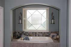 Stained glass in master bathroom window