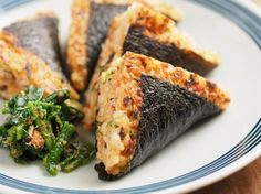 Pan grilled onigirazu with tuna and pickle filling