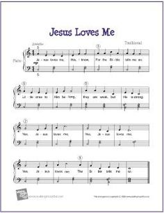 Jesus Loves Me (Bible Song) | Free Sheet Music  for Easy Piano - http://makingmusicfun.net/htm/f_printit_free_printable_sheet_music/jesus-loves-me-piano-solo.htm