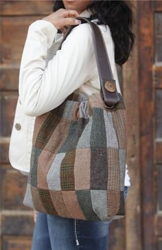 Tote from wool sweaters or mens suits