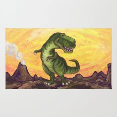 Animal Parade Tyrannosaurus Area & Throw Rug by Imagine That! Design - $28.00