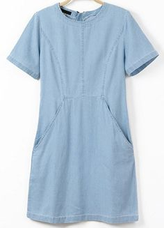 Blue Short Sleeve Zipper Pockets Denim Dress - Sheinside.com