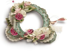 """Photo from album """"Shabby Chic"""" on Yandex. Diy Wreath, Wreaths, Decoupage, Vintage Borders, Stationary Design, Borders And Frames, Binder Covers, No Photoshop, Frame Crafts"""