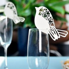 Bird Wedding Name Place Cards For Wine Glass Laser Cut On Pearlescent Card