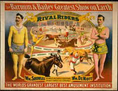 The Barnum & Bailey Greatest Show on Earth: The Rival Riders - Vintage Circus Poster