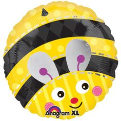 """18"""" diameter bumble bee design foil balloon.  Features recognizable yellow and black pattern, cute little wings, even a stinger!  Matches our Buzz BaBEE shower decorating pattern very well.  Double-sided"""
