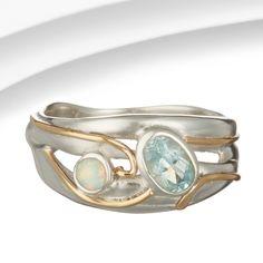 Organic Silver, Blue Topaz & Pale Opalite Ring
