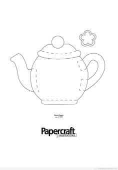 Teapot & cups pattern templates for painting, embroidery