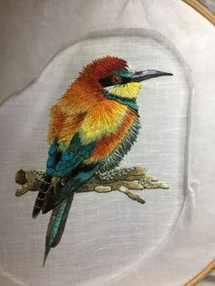 Trish Burr design of European Bee Eater. Embroidered Bird, Embroidery Needles, Crewel Embroidery, Ribbon Embroidery, Machine Embroidery, Hand Embroidery Tutorial, Hand Embroidery Designs, Embroidery Patterns, Crochet Wool