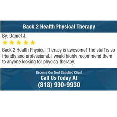 Back 2 Health Physical Therapy is awesome! The staff is so friendly and professional. I...