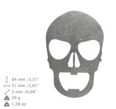 NEW Skull 1 bottle opener stainless steel by ArtDogshopcenter